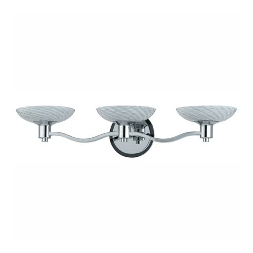 Triarch International Lighting 25323 Halogen VII Collection 3-Light Vanity Fixture, Polished Chrome Finish with White Hand-Blown Art Glass Shades