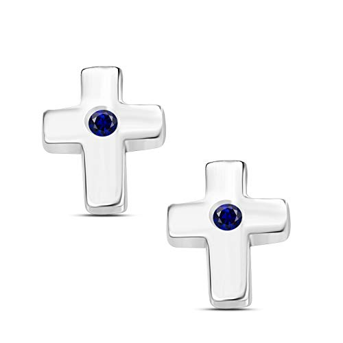 (Gems and Jewels Round Alloy Created Blue-Sapphire 14k White Gold Plated Cross Stud Earrings For Girls and Women's)