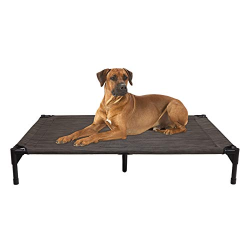 Veehoo Cooling Elevated Dog Bed – Portable Raised Pet Cot with Washable & Breathable Mesh, No-Slip Rubber Feet for Indoor & Outdoor Use, Standard Package, Large   Brown