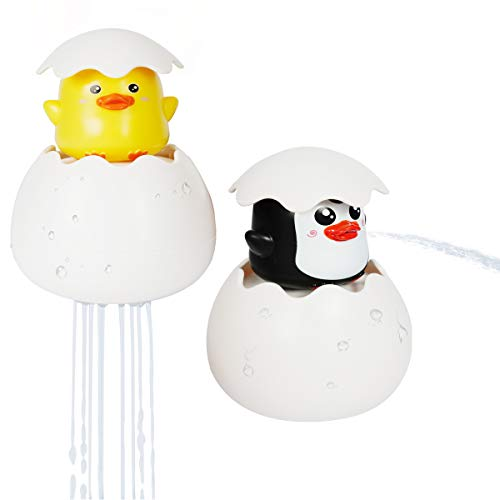 Sunny Jean Baby Bath Toys for Toddlers Educational Bath Time Fun Animals Hatching Duck Penguin Dragon Squirting Egg Kids Eco Bathtub Toys Spray Sprinkle Water (d+p)