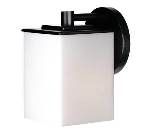 Forecast Lighting F8498-19 Midnight One-Light Exterior Wall with Etched White Opal Glass, Black (Contemporary Exterior Light Fixtures)