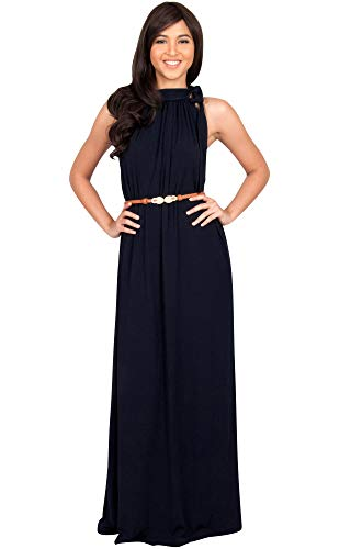 KOH KOH Womens Long Halter Sleeveless Sexy Summer Belted Evening Maxi Dress, Navy Blue M 8-10