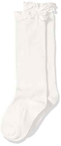 Ivory Knee Sock (Jefferies Socks Little Girls' Ruffle Knee High, Ivory, X-Small)