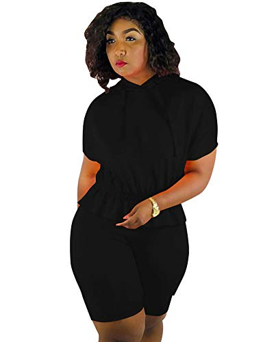 Women Sexy Two Piece Outfits - Black Short Sleeve Tops with Hoodies Bodycon Jumpsuits Rompers - Capri Ruffle Set