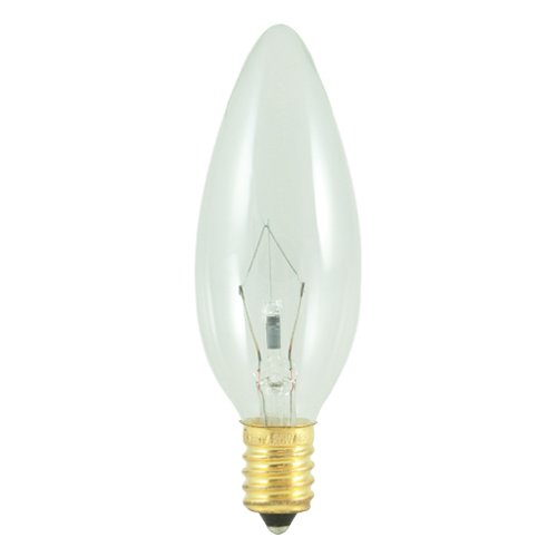European Base - Bulbrite 40CTC/E14 40-Watt Incandescent Torpedo Chandelier Bulb, European Base, Clear