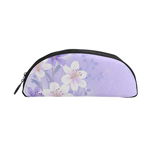 Laki-co Pencil Pouch Case White and Purple Lily Zippers Pen Bag Office Pen Holder Organizer Stationery Bag Cosmetic Bag School Supplies Students