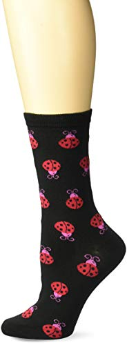 - K. Bell Women's Playful Animals Novelty Casual Crew Socks, Ladybugs (Black), Shoe Size: 4-10
