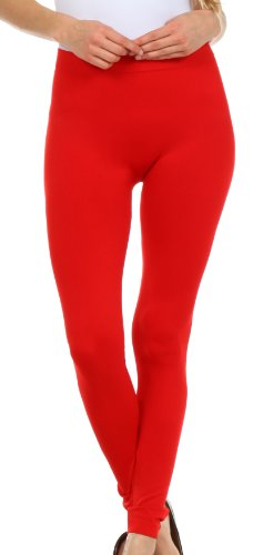 009XE Sakkas Basics Solid Color Leggings - Red - One Size