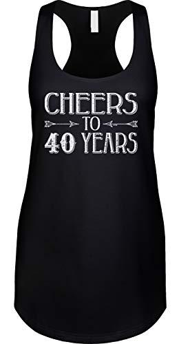 Blittzen Womens Tank Cheers to 40 Years - 40th Birthday, S, Black