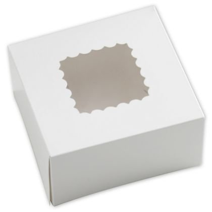 Deluxe Small Business Sales 663W-126 6 x 6 x 3 in. One-Piece Windowed Bakery Boxes, White from Deluxe Corporation