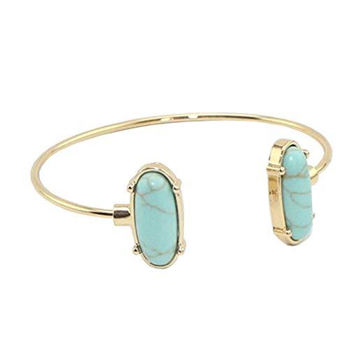 JczR.Y Retro Simple Fashion Turquoise Open Bangle Bracelets Natural Gemstone Copper Ring Bracelet Cuff for Women (Turquoise)