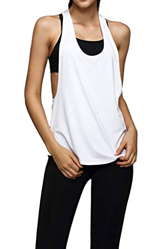 Lasher Women's Sexy Low V Neck Open Side Sleeveless Loose Sport Tank Top White L