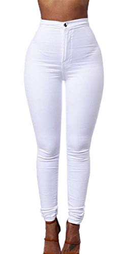 Donne Simple Lungo Casual Moda Pants Pantaloni Leggings Matita Trousers Strette fashion Bianca nx7AOH