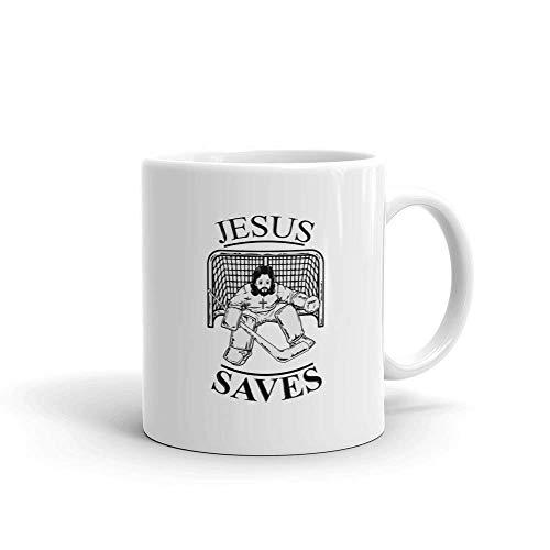 Funny Humor Novelty Jesus Saves Ice Hockey Christian Religious 11oz Ceramic Coffee Tea Mug