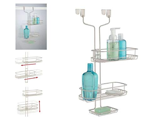 Buy Discount iDesign Linea Adjustable Bathroom Over Door Shower Caddy for Shampoo, Conditioner, Soap...