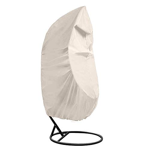 Outdoor Patio Hanging Chair Cover, Heavy Duty Egg Swing Chair Covers Dust Cover, Outdoor Garden Waterproof Protector YZZ13 (beige) (Chair Wicker Offers Hanging Egg)