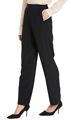 LilySilk Women Silk Dress Pants Silk Long Bottoms 18MM Elastic Waist Daily Soft Black XL/14-16