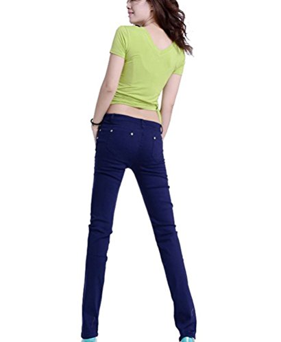 Casuali Matita Runyue Skinny Marina Pantaloni Militare Stretch Pantalones Slim Donna Alta A Vita EwZYq