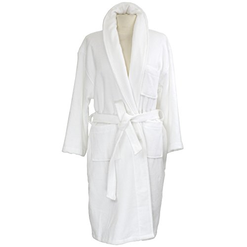 alpine swiss Blair Womens Cotton Terry Cloth Bathrobe Shawl Collar Velour Spa Robe Wht SM (Cloth Terry Shawl)