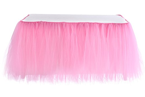 Table Skirt | 1 Yard Tutu Tulle Table Skirting Cover for Wedding, Birthday, Baby Shower, Slumber Party, Girl Princess, Home Decoration, Party Supplies (Pink) (Linen Stretch Skirt)