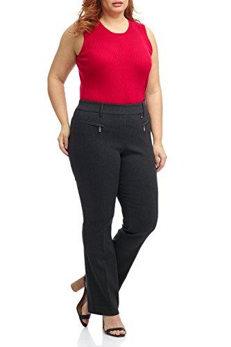 Rekucci Curvy Woman Bootcut Plus Size Pant with Zipper Pockets (14W,Charcoal Stripe)