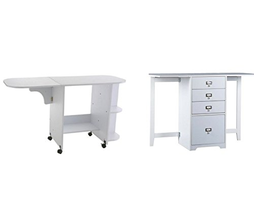 Patchwork Sewing Table with White Fold-Out Organizer and Craft Desk (Bundle) (White Fold Out Table)