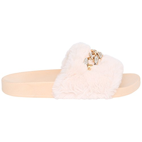RABIA'S COLLECTION Cara's Ladies Faux Fur Sliders With Gold Chain Black qQm0Hgv