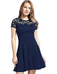 bdfe299b908 Women s A-Line Pleated Short Sleeve Little Cocktail Party Dress with Floral  Lace