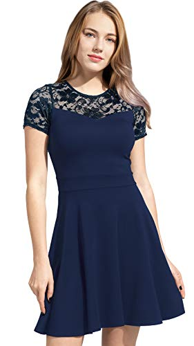 Sylvestidoso Women's A-Line Pleated Short Sleeve Little Navy Cocktail Party Dress with Floral Lace (M, Navy)