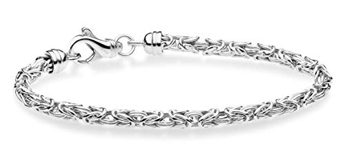 MiaBella 925 Sterling Silver Italian 4.5mm Solid Round Byzantine Link Chain Bracelet for Women Men, 8
