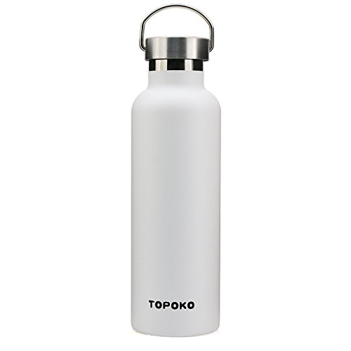 TOPOKO 25 oz Stainless Steel Vacuum Insulated Water Bottle, Keeps Drink Cold up to 24 Hours & Hot up to 12 Hours, Leak Proof and Sweat Proof. Large Capacity Sports Bottle White