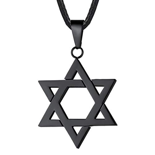 U7 Black Metal Star of David Necklace Alchemist Gift Megan Six-Pointed Star Pendant with 2mm Wide Black Leather Cord Chain 22