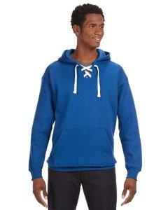 Blue Hockey Hood Sweatshirt: 80% Ringspun Cotton, 20% Polyester Fleece Fabric.,Royal Blue,Large