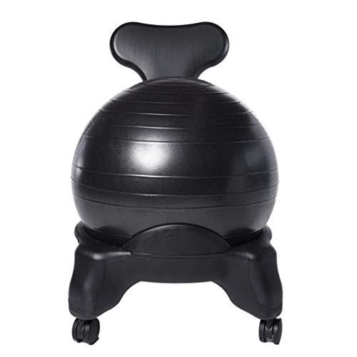 Yoga Ball Chair Stretch Ball Office Fitness seat Office Chair Yoga Ball Stool Chair Cushion Can Bear 300 kg (Color : Black, Size : 7952cm) (Bear Chair Task)