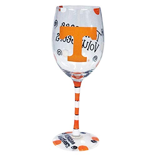 (Tennessee Volunteers Orange and White Hand Painted Wine Glass)