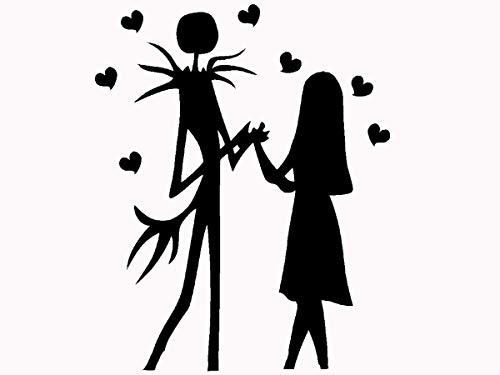 Jack and Sally Skellington Nightmare before Christmas Halloween fantasy car truck window laptop decal sticker 6 inches black