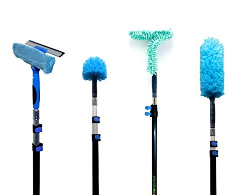 EVERSPROUT 4-Pack Duster Squeegee Kit with Extension-Pole (25+ Foot Reach) | Swivel Squeegee, Hand-Packaged Cobweb Duster, Microfiber Feather Duster, Flexible Ceiling Fan Duster, 18 ft Telescopic Pole