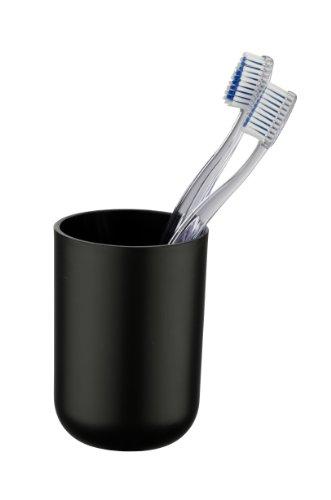 WENKO 21208565 Zahnputzbecher Brasil Schwarz - Zahnbürstenhalter für Zahnbürste und Zahnpasta, absolut bruchsicher, Thermoplastischer Kunststoff (TPE), 7.3 x 10.3 x 7.3 cm, Schwarz