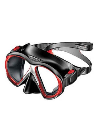Atomic Sub Frame Medium FIT Scuba Diving Mask for Narrower Faces, Snorkeling, Spearfishing, Free Diving (Black w/Red)