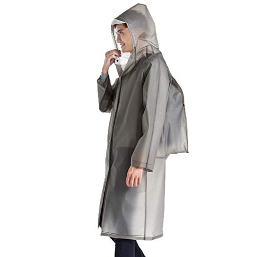 YAYUMI Men's and Women's Fashionable Plain Environmentally Friendly Backpack Raincoat Gray