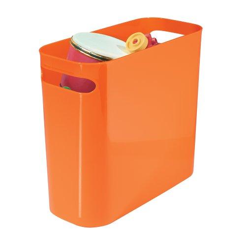 mDesign Slim Plastic Rectangular Trash Can Wastebasket, Garb
