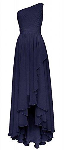Blue Shoulder One Simple Damen Brautjungferkleider Navy Royal Fanciest Blue Lang Chiffon Z7OAaqw8nx