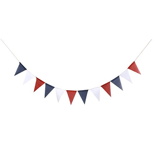 LUOEM 4th of July Bunting Banner American Burlap Banner Hanging Pennant Banner Garland National Day Decoration (Red Blue White)