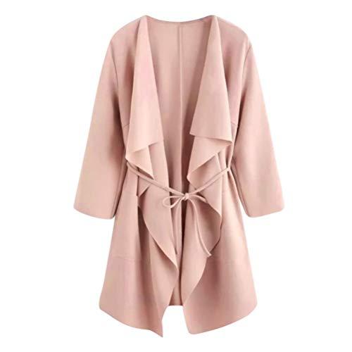 UONQD 2019d Women Coat Casual Waterfall Collar Pocket Front Wrap Jacket Outwear (Medium,Pink) ()