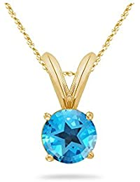 4.70-5.40 Ct 10 mm AAA Round Texas Star Swiss Blue Topaz Solitaire Pendant 14KY Gold