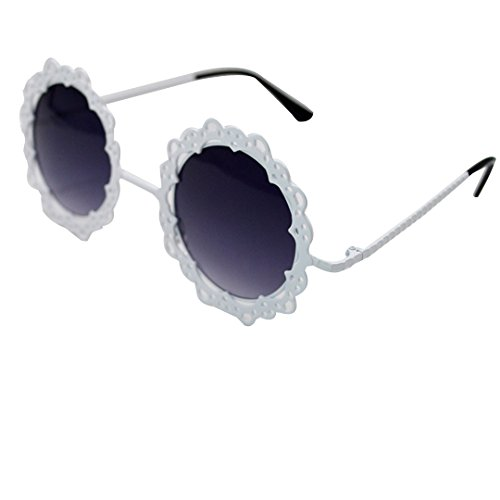Womens Vintage Hollow Lace Metal Flower Frame Round Sunglasses from Mily - Flower Round Sunglasses