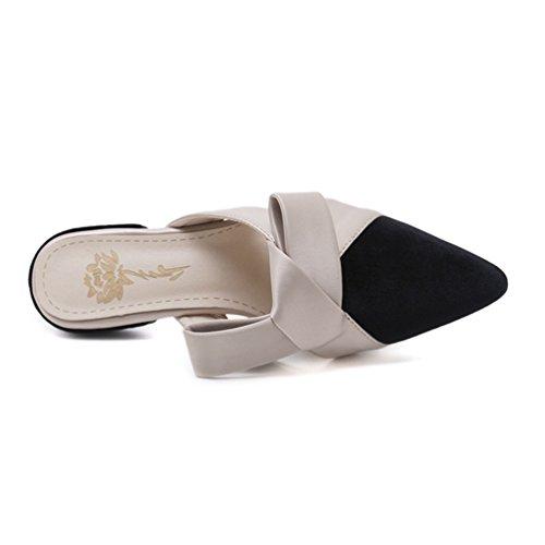 Nœud Sandales Casual Pointu Bout Femmes Mules Talons Beige Noir Plates Mode Chaussures OL Été Chaussons nUnw70Zq