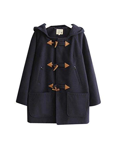 Botones de cuernos sueltos con capucha de las mujeres abrigo de lana de algodón Navy XXL