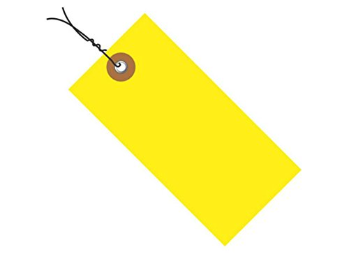 RetailSource G14053Bx100 4 3/4 x 2 3/8'' Yellow Tyvek Shipping Tags - Pre-Wired, 3.25'' Height, 8'' Length (Pack of 100) by RetailSource