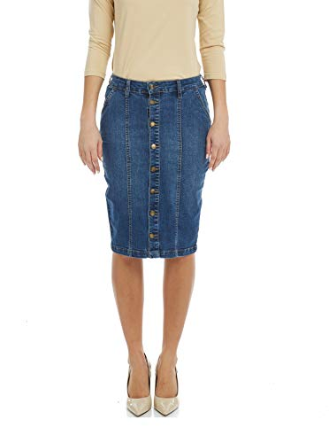- Esteez Women's Denim Pencil Skirt - Button Down Stretch Jean Montreal Blue 6